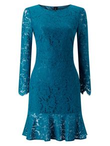 Jacques Vert Lace Flute Hem Dress