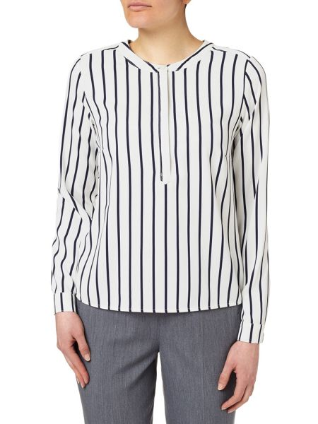 Eastex Striped Stand Collar Blouse