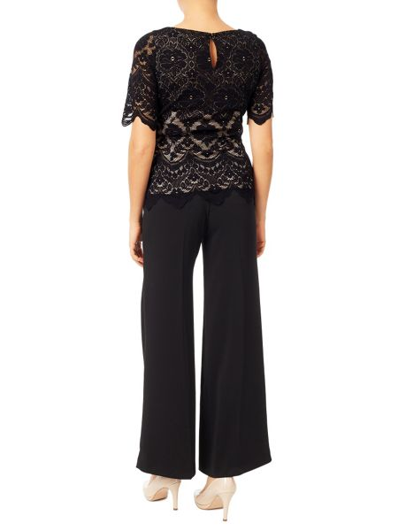 Jacques Vert Lace Contrast Jersey Top