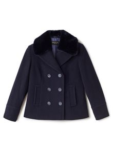 Precis Petite Mary Wool Fur Collar Coat