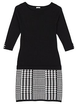 Lacy Houndstooth Knitted Dress