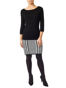 Precis Petite Lacy Houndstooth Knitted Dress