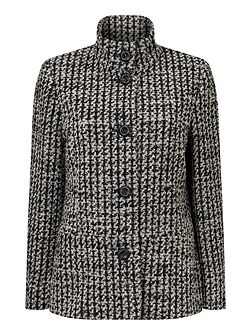 Funnel Neck Jacquard Coat