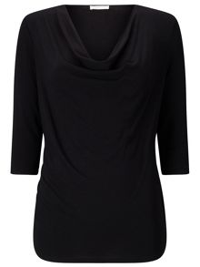 Jacques Vert Jersey 3/4 Sleeve Cowl Top