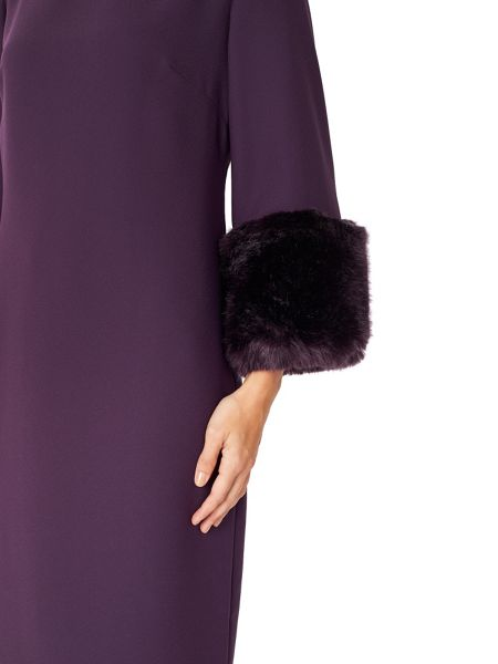 Jacques Vert FUR CUFF DETAIL DRESS