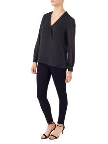 Precis Petite Jeff Banks Black V Neck Blouse