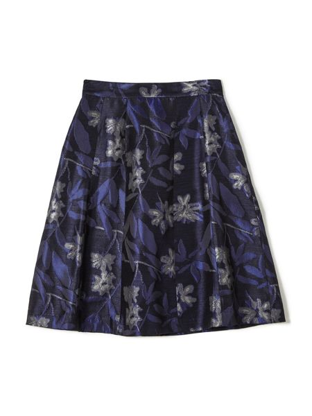 Precis Petite Jeff Banks Blue Jacquard Skirt