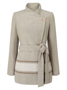 Jacques Vert Asymmetric Colour Block Coat