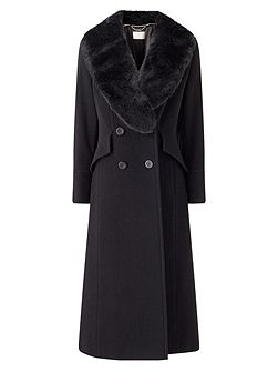 Long Black Fur Collar Coat