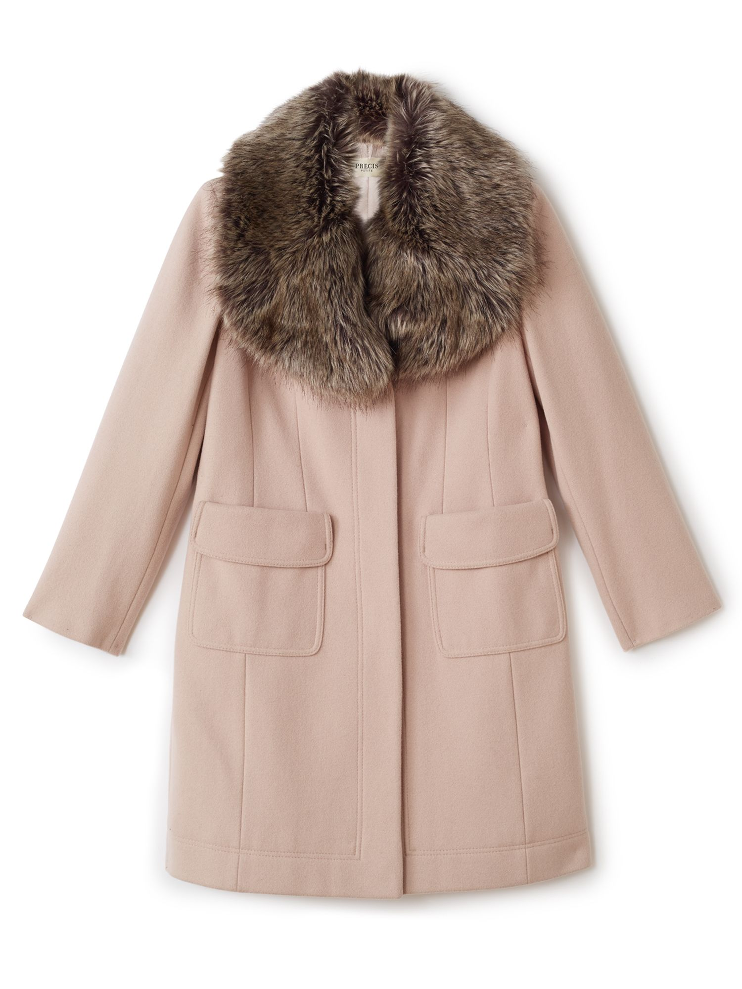 Precis Petite Stacy Fur Collar Long Coat, Neutral