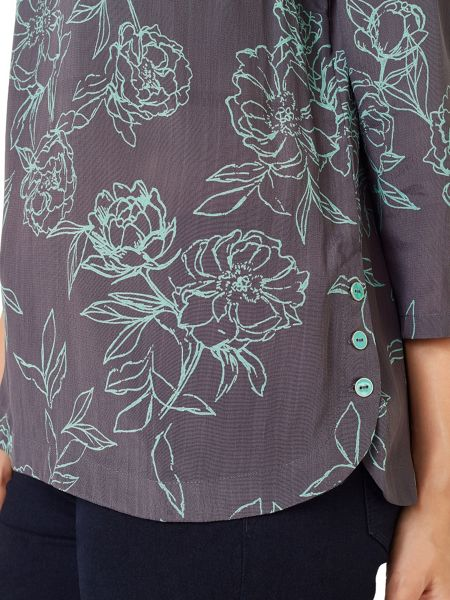 Dash Woven Rose Button Side Top