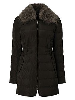 Pu Trim Collar Down Coat