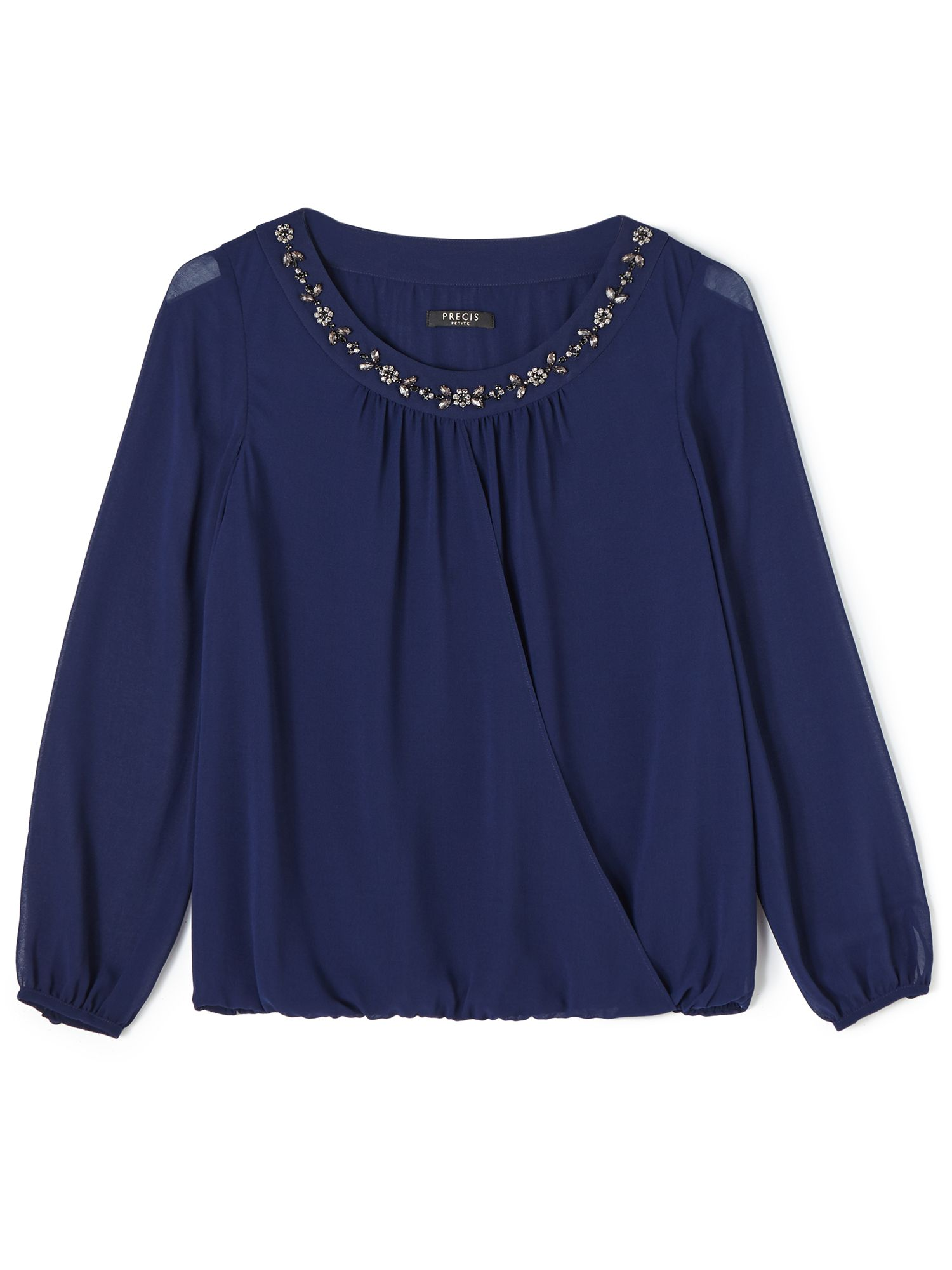 1920s Style Blouses Precis Petite Stacey Beaded Neck Blouse Navy £44.85 AT vintagedancer.com