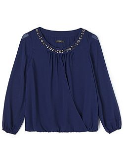 Stacey Beaded Neck Blouse