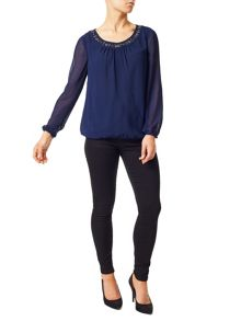 Precis Petite Stacey Beaded Neck Blouse