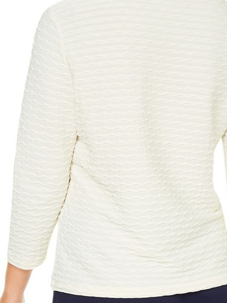 Eastex Ivory Wave Texture Top