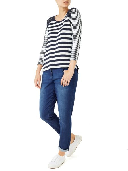 Dash Stripe Top With Lace Trim