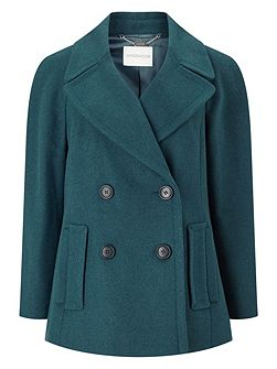 Pu Trim Pea Coat