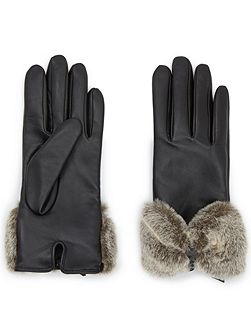 Bow Faux Fur Leather Glove