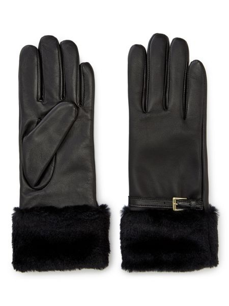 Jacques Vert Faux Fur Buckle Leather Glove
