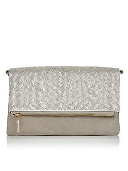 Lucy Silver Beaded Clutch Bag