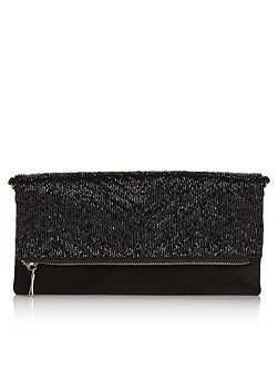 Lucy Black Beaded Clutch Bag