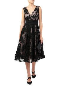 Jacques Vert Floral Applique Prom Dress