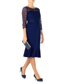 Jacques Vert Lace Yoke Ponte Dress
