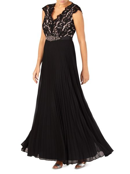 Jacques Vert Lace Top Plisse Maxi Dress