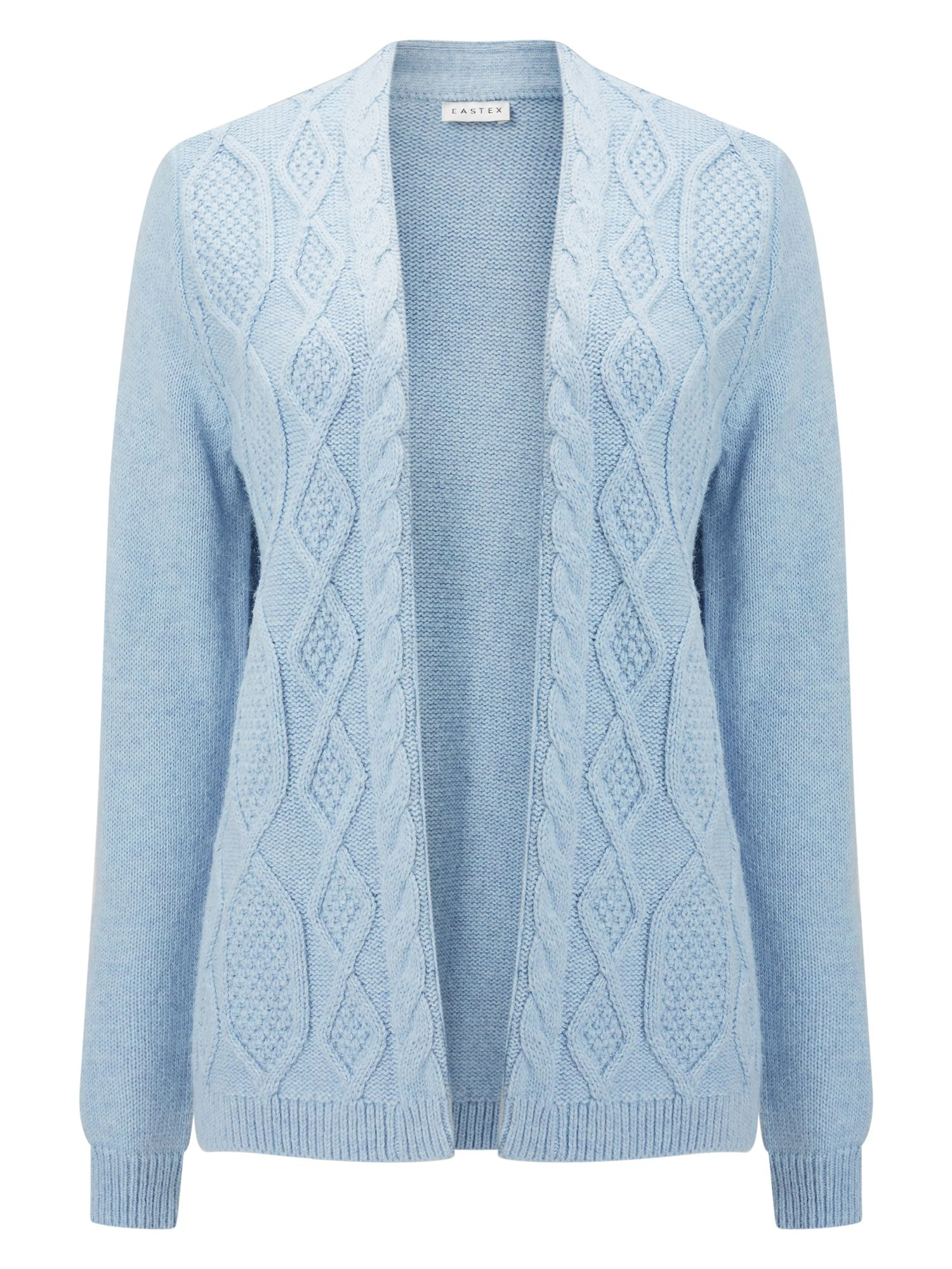 Eastex Eastex Cable Front Cardigan, Light Blue