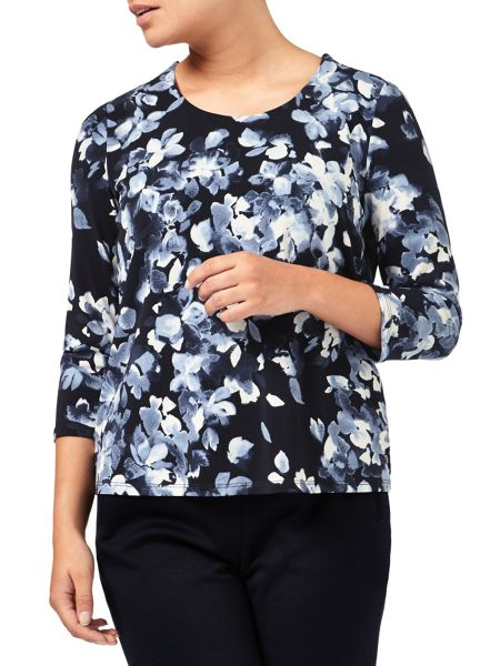 Eastex Mono Watercolour Floral Top