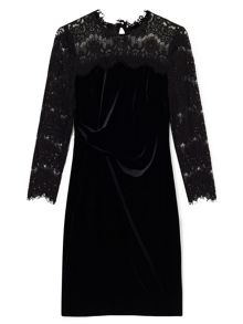 Precis Petite Faith Lace Velvet Dress