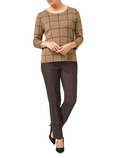 Eastex Camel Check Knitted Jumper