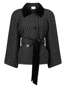 Jacques Vert Textured Velvet Collar Jacket