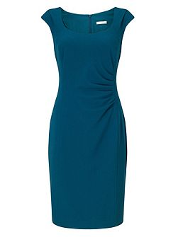 Side Pleat Crepe Dress