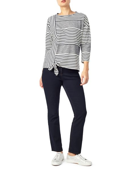 Dash Stripe Tie Front Top