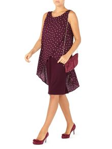 Jacques Vert Woven Spot Ponte Mix Dress