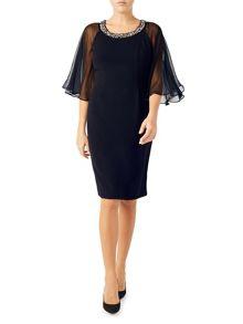 Jacques Vert Chiffon Cape Detail Dress