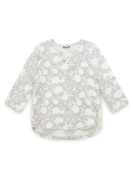 Dash Printed Jersey Notch Neck Top