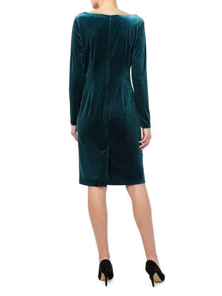 Jacques Vert Long Sleeve Velvet Cowl Dress