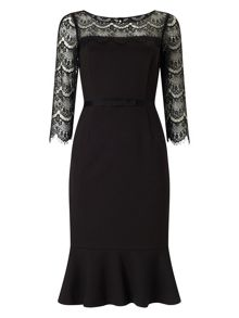 Jacques Vert Black Lace Detail Dress