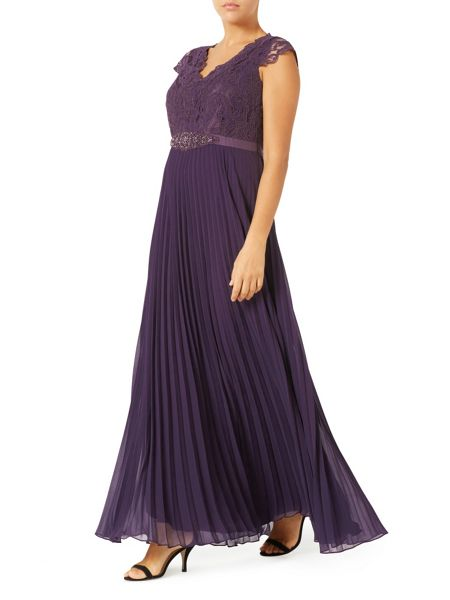 Jacques Vert Pleated Embellished Maxi Dress