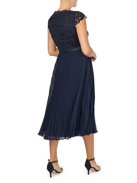 Jacques Vert Pleated Embellished Midi Dress