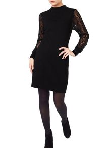 Precis Petite Alyssa Knit Lace Sleeve Dress