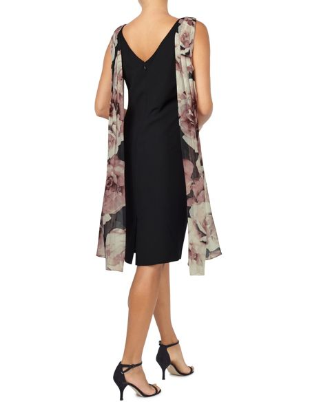 Jacques Vert Printed Drape Cape Dress