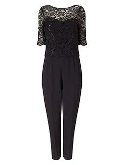 Lace Crepe Jumpsuit