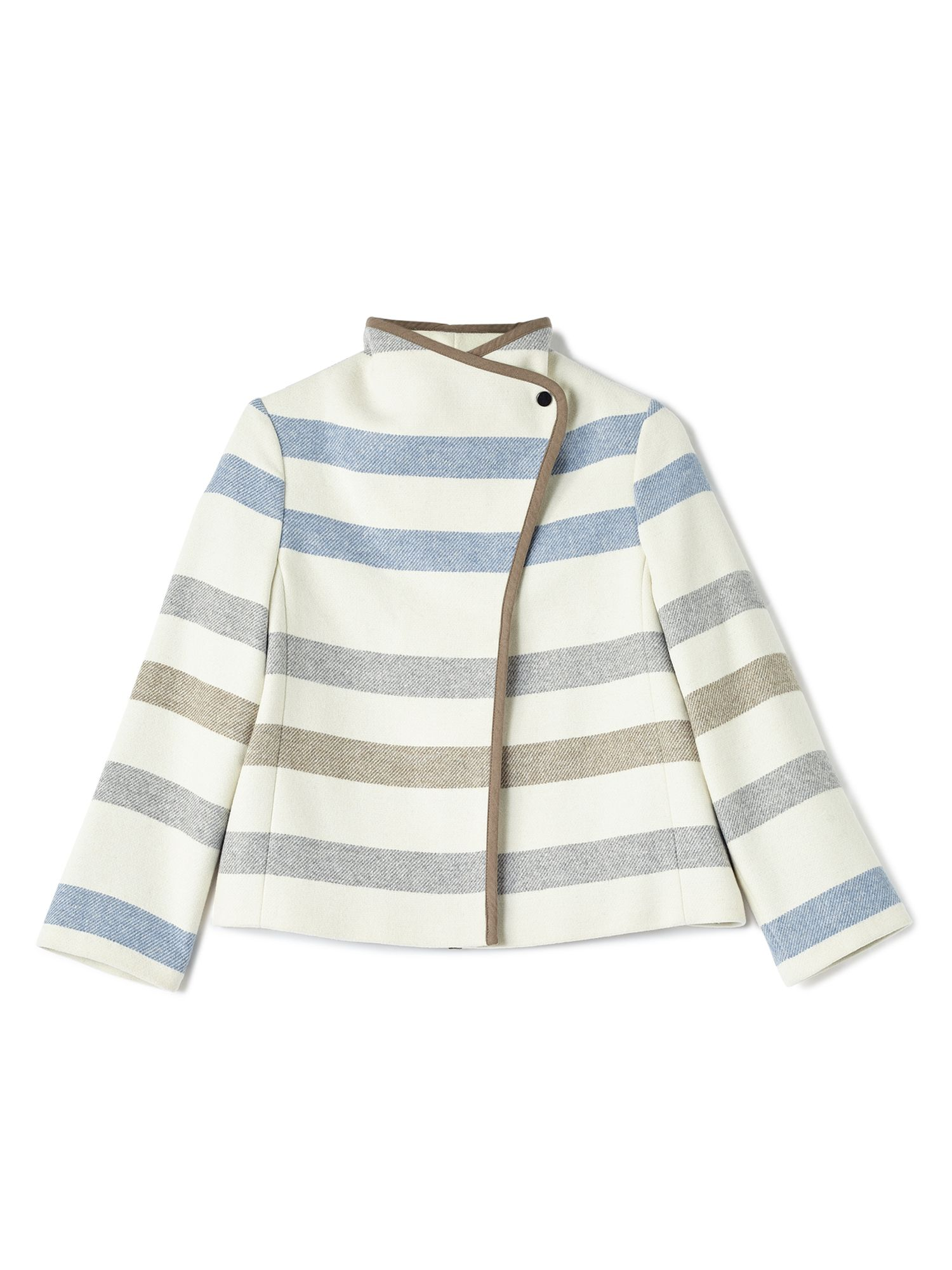 Dash Stripe Short Wool Coat, Blue