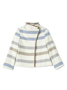 Dash Stripe Short Wool Coat