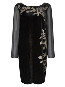 Jacques Vert Floral Burnout Velvet Dress