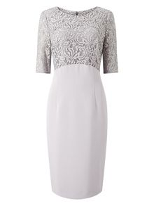 Jacques Vert Lace And Crepe Dress